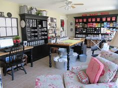 The greatest craft room ever! She has so many clever ways to create storage on the cheap and way stylish too!