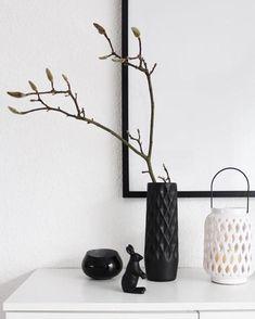 Wunderschöne Schlichte Deko Mit Schwarz Weißen Blumenvasen! #magnolie  #zweig #vasen #