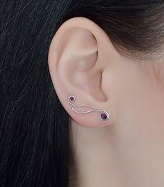 Silver EAR CLIMBER EARRING // Ruby Ear Cuff by PjCreationsStudio