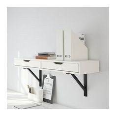 EKBY ALEX / EKBY VALTER Shelf with drawer - white/black - IKEA. $54.99. Neat idea; not flexible in terms of space usage though - boxes might be better.