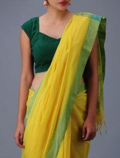 Yellow-Green Cotton Khadi Saree