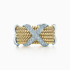 Tiffany & Co. Schlumberger® Rope Six-row X ring in 18k gold with diamonds.