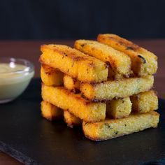 Baked Polenta Fries With Garlic Aioli ~ Hungry AF Polenta Frita, Baked Polenta, Polenta Recipes, Halloween Fingerfood, Garlic Aioli Recipe, Christmas Finger Foods, So Little Time, Food Inspiration, Smoothies