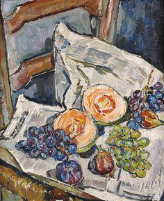 Mela MUTER / Maria Mélania MUTERMILCH (Varsovie 1876-Paris 1967) Nature morte aux raisins et melons Huile sur panneau, annoté au dos « Avignon 1943 » 46 x 38 cm