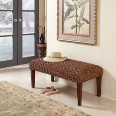 Home Styles Cabana Banana II Cinnamon Finish Bench-Home and Patio Decor Center Upholstered Bench, Ottoman Bench, Entryway Bench, Dining Bench, Foyer, Metal Beds, Furniture Deals, Coastal Decor, Cabana