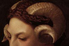 "detailedart: "" Detail of Head of a Woman with the Horns of a Ram (1853), by Jean Léon Gérôme. """