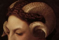 "detailedart: "" Detail of Head of a Woman with the Horns of a Ram (1853), by Jean Léon Gérôme. """