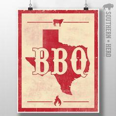Texas BBQ Art Print