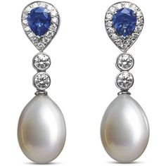 Asprey Sapphire & Pearl Earrings ($16,670) ❤ liked on Polyvore