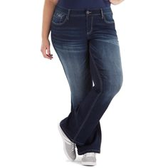 62a0d6fa0a2 Juniors  Plus Size Amethyst Faded Slim Bootcut Jeans