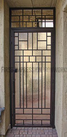 First Impression Ironworks modern front door #ornamentaliron #frontdoor #irondoor #customiron #ironartwork & Mascotte Home Security Storm Doors - Craftsman Custom Series ...