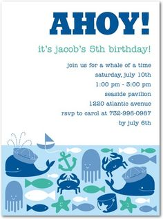 Under The Sea birthday party theme- invitations.  This is from Tiny Prints but it would be easy to DIY.