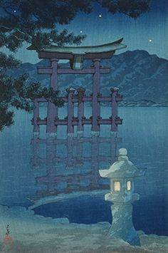 "nobrashfestivity: "" Hasui Kawase 川瀬 巴水, Starlit Night at Miyajima (Hoshizukiyo [Miyajima]), from the series Souvenirs of Travel, Third Series (Tabi miyage dai sanshu), 1928 Color woodblock print; Sun Prints, Framed Art Prints, Japanese Prints, Japanese Art, Toledo Museum Of Art, Monochromatic Art, Hokusai, Art Asiatique, Miyajima"