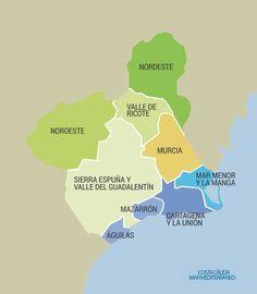 La Región de Murcia en 8 rutas Archaeological Site, Travel Maps, Map Art, Live, Sun, Cartagena, Paths, Tourism, Cities