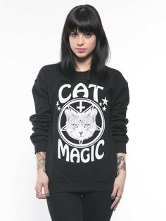 Killer Condo Cat Magic Crewneck $42.00  Killer Condo's super comfy, oversized Cat Magic crewneck. Sweatshirt is super soft with a 50/50 cotton/poly blend, preshrunk and pill resistant.