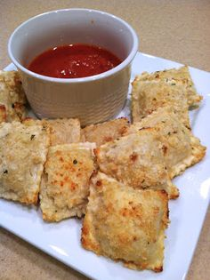 Crispy Baked Ravioli. I'm excited to try this since it was one of my kids' favorites when we lived in St. Louis.