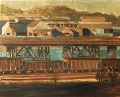 Adam Maeroff landscape painting coal car railroad steel mill Monongahela River