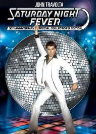 """Saturday Night Fever Staring; John Travolta and Karen Lynn Gorney.Saturday Night Fever was an important turning point in American fashion, for it brought about a shift away from the shaggy hairstyles and faded blue jeans of the early and middle 1970s. Millions of Americans resigned their shaggy manes to hair brushes for the first time in years,."""" Other fashion items which came from Saturday Night Fever were the Cuban heels, those clingy back shirts, and of course gold neck chains."""