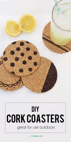 Quick and Easy DIY Cork Coasters - Great for Use Outdoors! - via Life On Virginia Street