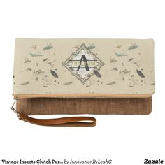 Vintage Insects Clutch Purse Monogram Personalized