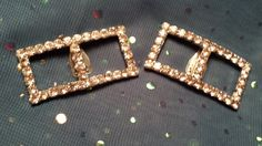 GLITZY Shoe Clips w/ Prong Set Clear Rhinestones by ceiltiques