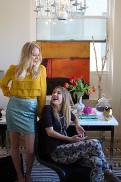 The post is about Caitlin & Caitlin's Interior Design Workspace, but I love the mustard with glitter.