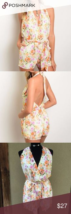 """Peach & Cream Floral Halter Romper Beautiful Peach & Cream Floral Halter Romper- plunging neckline halter style, open back, tie belt with elastic waist, side pockets. Fully lined❣ Small waist (elastic) 11.5"""" rise from center crotch to front waist 11.5"""" Med W=12.5"""" Rise=12"""" Lg W=14"""" Rise=13"""" hard to measure Bust because it's a halter and open back with plunge neckline & length because the halter part makes it adjustable. Price firm on clearance ✅I ship same or next day ✅Bundle for discount…"""