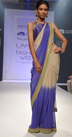 Beige and violet shaded  sari by ARPITA MEHTA. Shop at http://www.perniaspopupshop.com/lakme-fashion-week/arpita-mehta/arpita-mehta-beige-and-violet-shaded-sari-aplfw081305.html