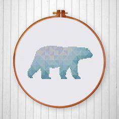 Geometric Polar Bear cross stitch pattern Modern by ThuHaDesign Funny Cross Stitch Patterns, Cross Stitch Cards, Simple Cross Stitch, Cross Stitch Animals, Counted Cross Stitch Kits, Cross Stitch Designs, Cross Stitch Embroidery, Cross Stitch Geometric, Geometric Bear