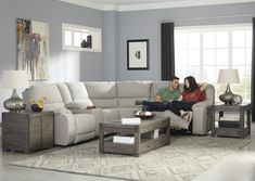 Bohannon - Putty 3 Pc Power Reclining RAF Loveseat Sectional by Benchcraft. Get your Bohannon - Putty 3 Pc Power Reclining RAF Loveseat Sectional at Railway Freight Furniture, Albany GA furniture store. White Sectional Sofa, Reclining Sectional, Fabric Sectional, Couches, White Furniture, Living Room Furniture, Console, Clean Couch, Leather Living Room Set