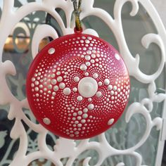 Christmas tree ornament Pearl mandala on red by CreateAndCherish