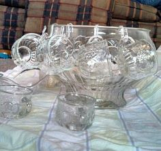 1950's glass punch bowl 26 piece set by EllaBella07 on Etsy, $25.00