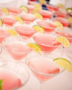 In need of some cocktail hour inspiration? Check out our favorite signature drinks from real weddings. Gold Drinks, Pink Cocktails, Pink Drinks, Bar Drinks, Cocktail Drinks, Yummy Drinks, Cosmopolitan Cocktails, Beach Cocktails, Think