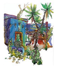 Frida Kahlo's Casa Azul (Blue House). Mexico City. Gorgeous, vivid blue house. Tropical vegetation. This home totally captures Frida Kahlo's personality! #mexico #travel #fridakahlo