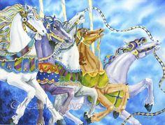 Watercolor Circus Art Carousel Horse Painting Carnival Art Original via Etsy