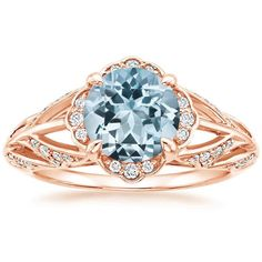 14K Rose Gold Aquamarine Fiore Ring, top view