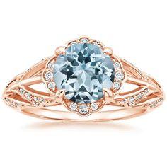 14K Rose Gold Aquamarine Fiore Ring, top view