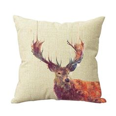 Decorative Cotton Linen Vintage Deer Throw Pillow Case Cover Animal Style Cushion Cover Case 18*18 New Design Custom Decor Square Cushion Covers Pillowbox http://www.amazon.com/dp/B00TDDY1BE/ref=cm_sw_r_pi_dp_v6Lbvb10F3736