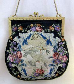 Gorgeous Vintage Needlework Purse with Doves