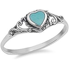 Simulated Turquoise Heart Love Promise Ring Bali New .925 Sterling Silver Band Valentine's Day gift