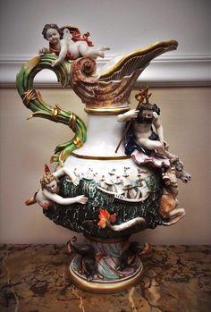 Stunning Antique Meissen Style Porcelain Polychromed Ewer in Antiques, Decorative Arts, Ceramics & Porcelain, Figurines | eBay