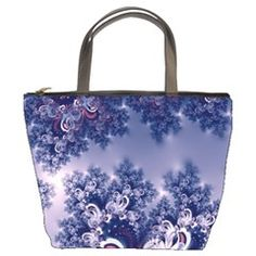 Pink and Blue Morning Frost Fractal Bucket Handbag from CowCow.com Front...#purses #bags #fractals #pink #blue #RoseSantuciSofranko #Artists4God #frost #Winter #designer #cowcow