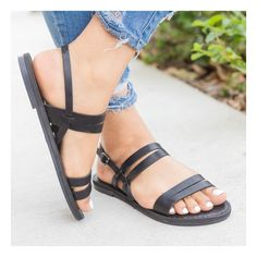 Black Strappy Slingback Sandals