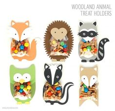Woodland Animal Treat Holders These treat holders are my favorite part of the entire woodland party collection. The animal body and head are one piece that fold over the treat bag. Fill a clear bag with goodies and adhere inside the flap. Woodland Animals Theme, Woodland Baby, Woodland Creatures, Party Animals, Animal Party, Bridal Party Games, Forest Party, Creation Art, Craft Activities For Kids