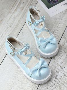 b8d4fb9aef2b Sweet Lolita Pumps Bow Strappy Metallic PU Black Lolita Shoes  Pumps
