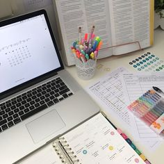 MacBook Pro simplified planner desk studygram #bachelorsdegree