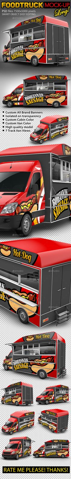 Food Truck HodDog MockUp. Van eatery mockup — Photoshop PSD #taco truck #minibus • Available here → https://graphicriver.net/item/food-truck-hoddog-mockup-van-eatery-mockup/17462490?ref=pxcr