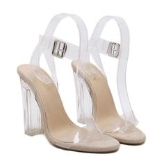 Clear Ankle Strap High Heels Kentucky Derby Shoes