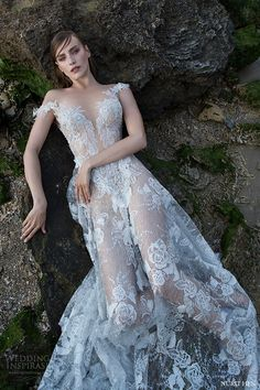 nurit hen 2016 off shoulder split sweetheart aline wedding dress (sw21) mv