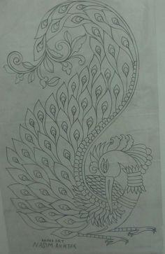 Kerala mural pencil sketch(by:Preetha Ramesh ) Peacock Drawing, Peacock Painting, Peacock Art, Fabric Painting, Peacock Outline, Peacock Embroidery Designs, Hand Embroidery Design Patterns, Embroidery Motifs, Peacock Coloring Pages